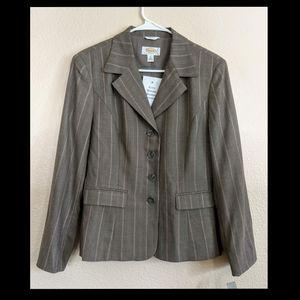NWT Talbots Gray & Pink Striped Wool Blazer 8P